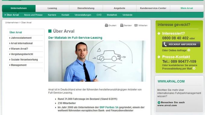 Arval, Screenshot, Homepage, Februar 2012