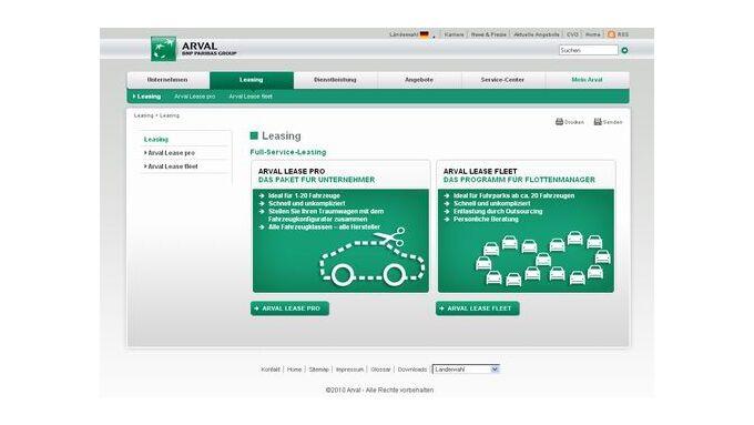Arval: Zielgruppenorientierter Internetauftritt