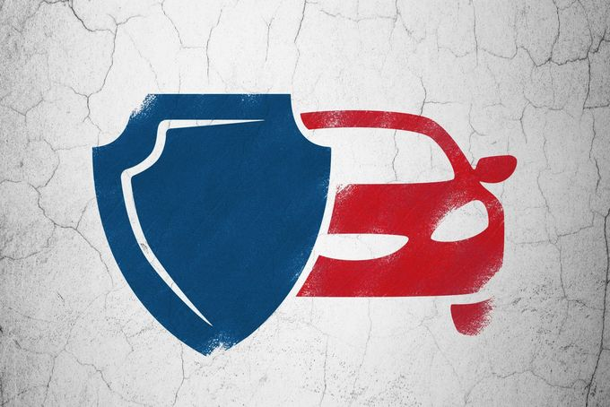 Insurance concept: Car And Shield on wall background