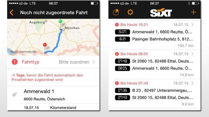 Sixt Leasing App elektronisches Fahrtenbuch Screenshot
