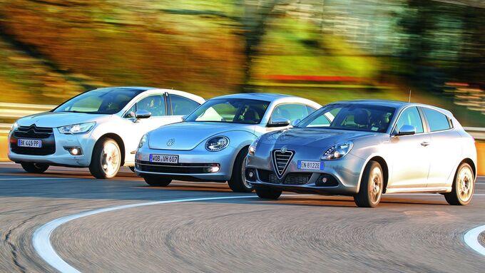 Alfa Romeo Giulietta, Citroen DS4 und VW Beetle