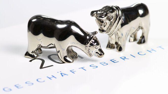 Bulle und Bär auf deutschem Geschäftsbericht