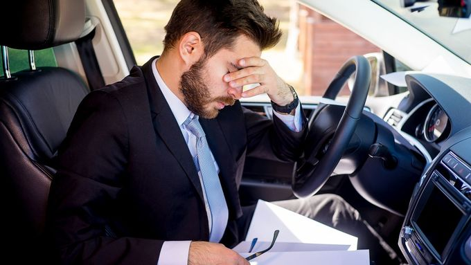 Müde, erschöpft, Fahrer, am, Steuer,