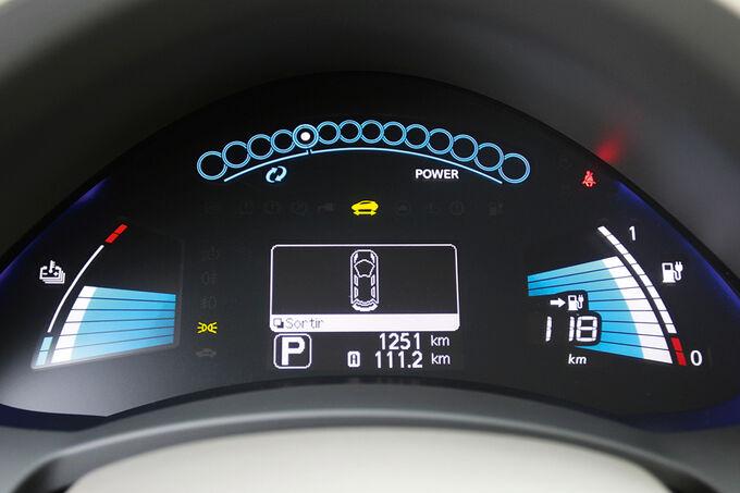 Nissan Leaf, Verspiegeltes Display, Anzeige für Ladestand