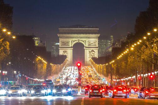 Paris, Verkehr, Bei, Nacht