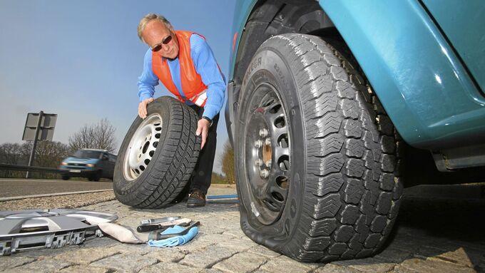 Reifenwechsel, platter Reifen